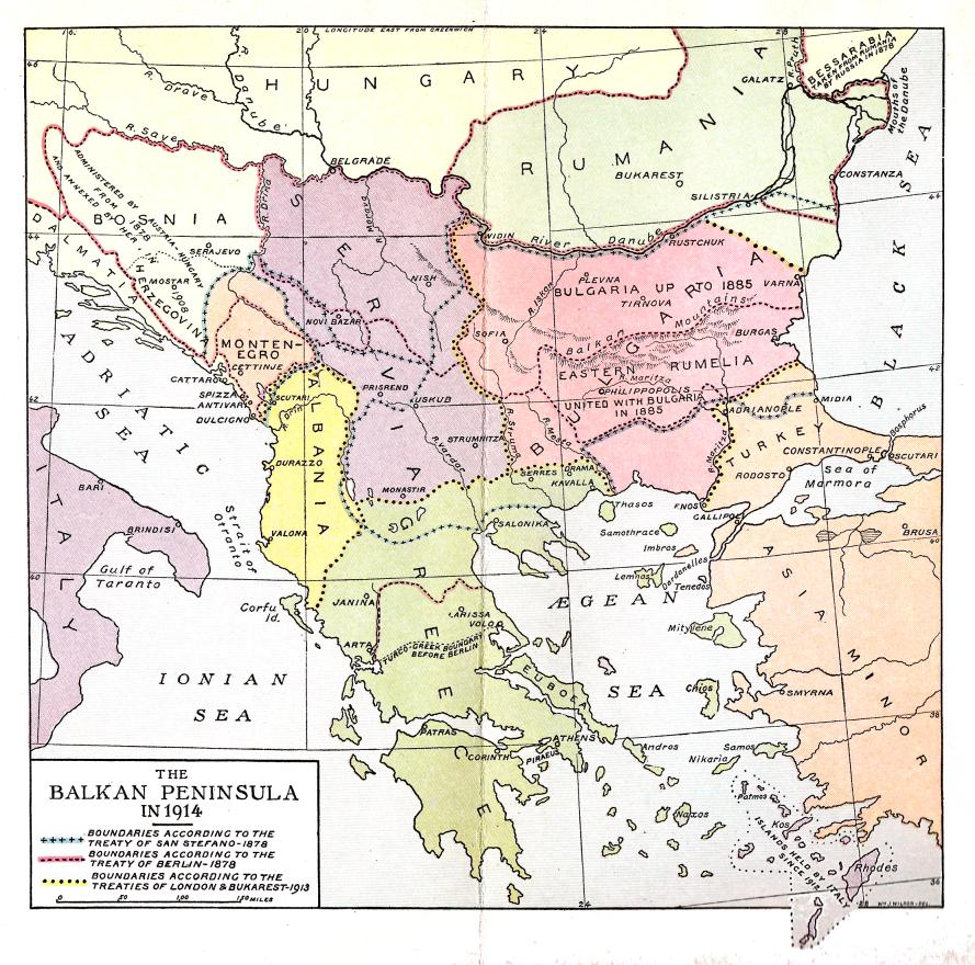 Map of Balkan Peninsula in 1914 (First World War Centennial)