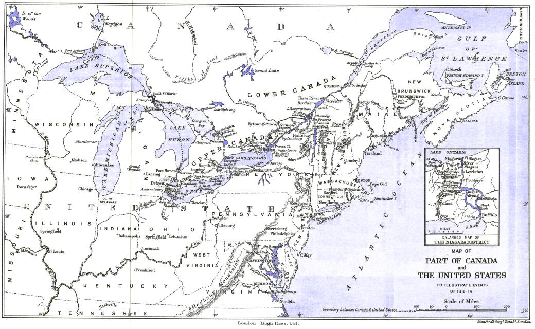 Map Of Part Of Canada And The United States To Illustrate Events Of